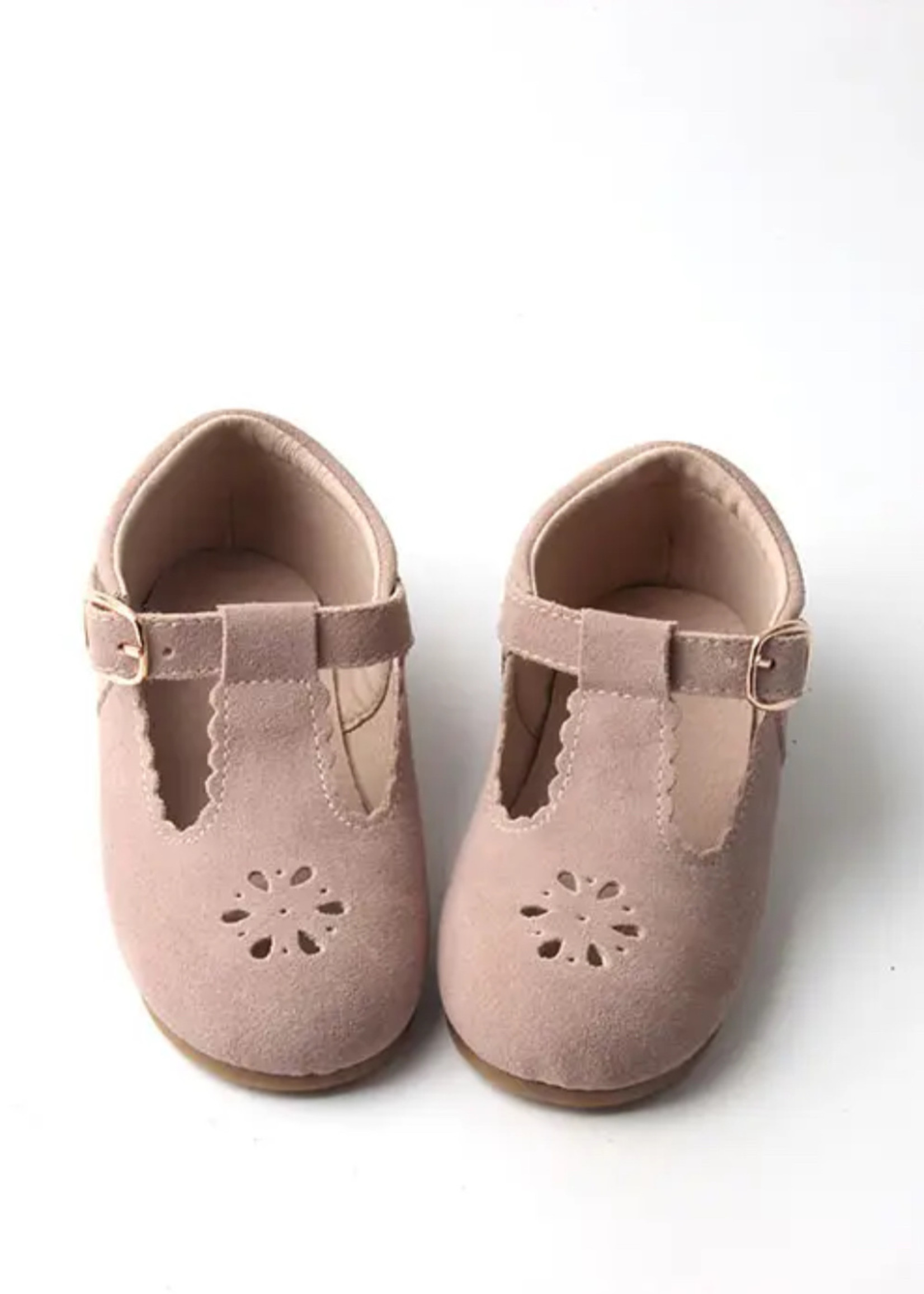 Consciously Suede Petal Pink T-bar shoes