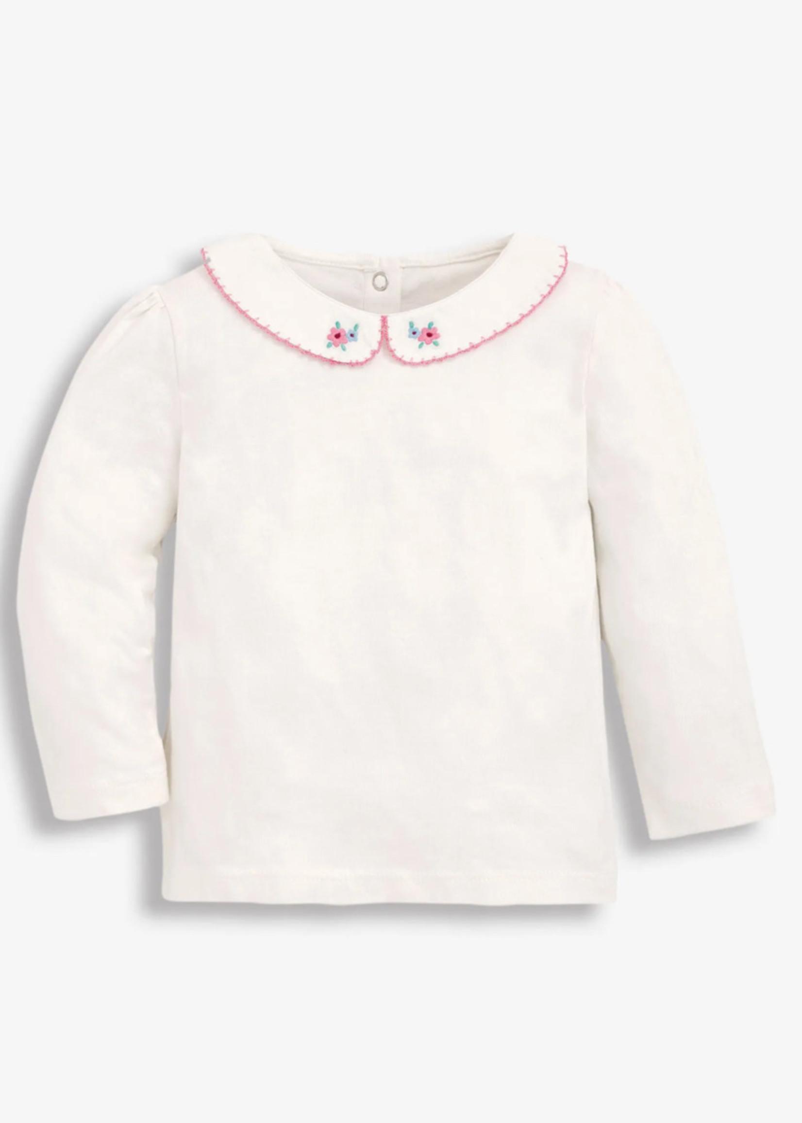 jojo maman bebe Floral Embroidered Peter Pan Collar Top