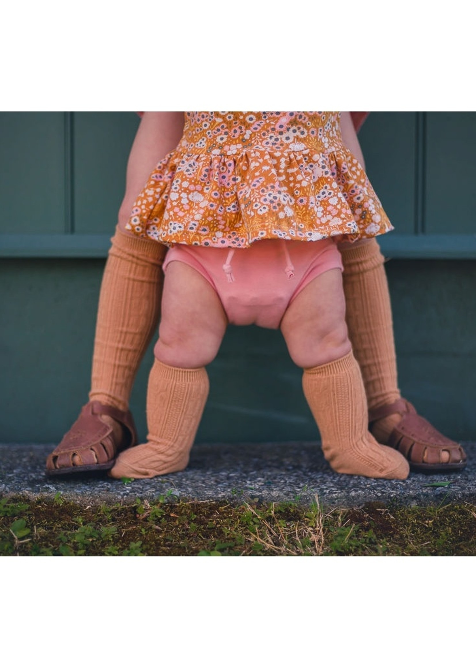 little stocking co Biscotti Cable Knit Knee Highs