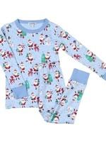 magnolia baby Jolly Santa Long Pajamas in Blue