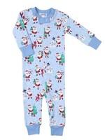 magnolia baby Jolly Santa Zippered Pajamas in Blue