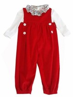 Marco and Lizzy Red Felicite Liberty Corduroy Long Girl Romper Set