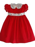 Marco and Lizzy Red Felicite Liberty Classic Collar Corduroy Dress