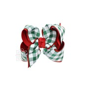 "Beyond Creations 2.25"" Gros. & 2"" Buffalo Plaid Ribbon, 5.5"" XL Layered Bow w/ Knot on Alligator Clip -"
