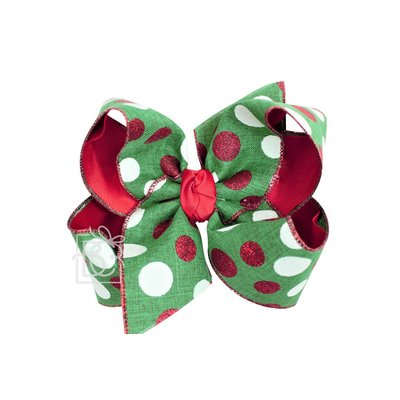 """Beyond Creations 2.5"""" Specialty Ribbon & 2.25"""" Gros, Layered 6.5"""" XXL Bow w/ Knot on LG. Alligator Clip"""