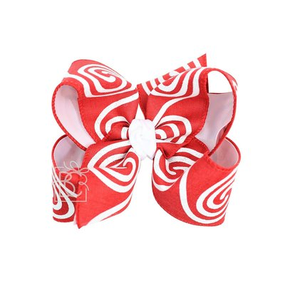 "Beyond Creations 2.25"" Gros. & 2.5"" Circle Swirl Glitter Ribbon, 6.5"" XXL layered Bow w/ Knot on LG. Alligator Clip"