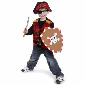 Creative Education Pirate Vest with Eye Patch, Black, Size 4-7