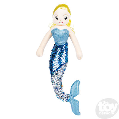 """The Toy Network Sequin Mermaid - Blonde Hair and Blue Tail (12"""") - Plush Stuffed Animal"""