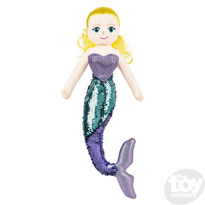 """The Toy Network Sequin Mermaid - Blond Hair and Aqua Tail (18"""") - Plush Stuffed Animal"""