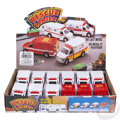 The Toy Network Die Cast Pull Back Rescue Ambulance