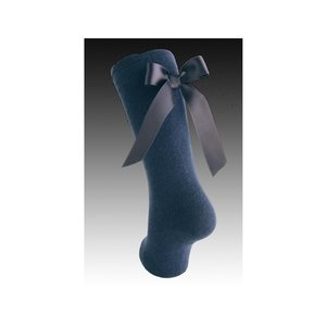 Carlomagno Cotton Knee Socks with Back Bow-0008 Navy
