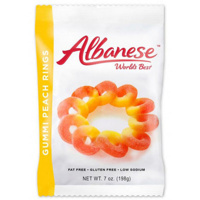 Redstone Foods Albanese Gummi Peach Rings Peg Bag