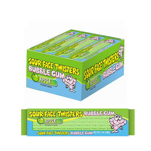 Redstone Foods Sour Face Twisters Bubble Gum Straws - Green Apple
