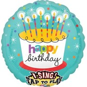 Balloons.com 28 inch - Foil Balloon - Sing A Tune - Birthday Striped Candles (with helium)