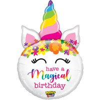 """Balloons.com 33"""" - Non-Foil Shape Mylar Balloon - Unicorn Have a Magical Birthday (with helium) Betallic Mighty Bright! 35860"""