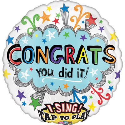 Balloons.com Sing A Tune - Congrats Confetti (28 inch) Balloon (with helium)