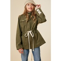 Hayden Lace-Up Hooded Cargo Jacket