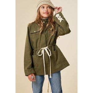 Hayden Lace-Up Hooded Cargo Jacket