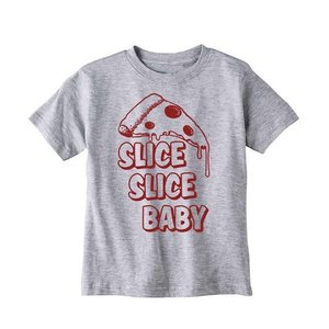 Bad Pickle Tees Slice Slice Baby Kid's Pizza Tee | Gray: