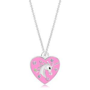 Chanteur Crystal Unicorn Heart Pendent  - Multi Color