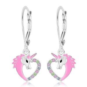 Chanteur Crystal Pink Enamel Unicorn Heart Leverback Earrings