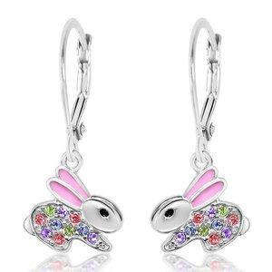 Chanteur Crystal Pink Enamel Bunny Leverback Earrings