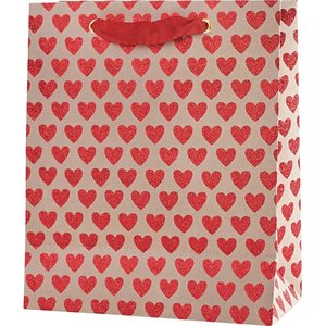 Paper Source Wholesale Red Glitter Hearts on Kraft Medium Bag