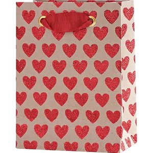 Paper Source Wholesale Red Glitter Hearts on Kraft Small Bag