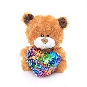"""Plushland A0 Qbeba Teddy Bear w Sequin Heart Stuffed Animal (6"""") : Brown With Rainbow Heart"""