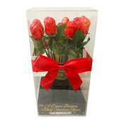 Redstone Foods 1 DOZEN FOILED MILK CHOCOLATE ROSES IN VASE/PLASTIC BOX