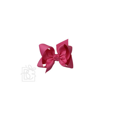"Beyond Creations 1.5"" GROSGRAIN, 4.5"" LG BOW W/ KNOT ON ALLIGATOR CLIP--HOT PINK"