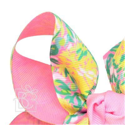 "Beyond Creations 2.25"" LP RIBBON, 6.5"" XXL TWO TONE SPECIALTY BOW W/ KNOT ON LG. ALLIGATOR"