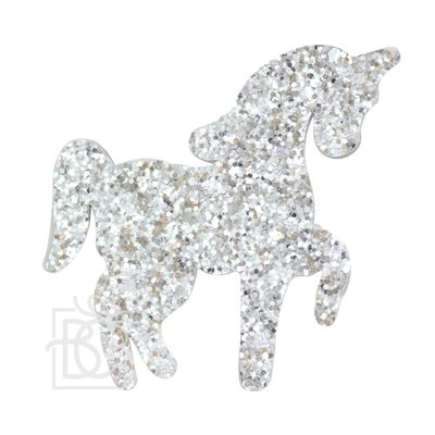 Beyond Creations 3' GLITTER UNICORN ON PINCH CLIP -