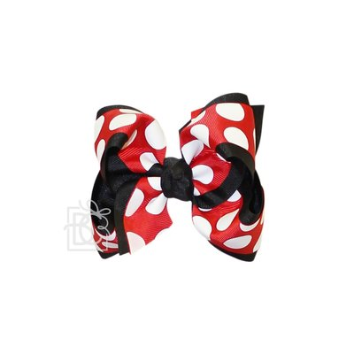 """Beyond Creations 2.25"""" GROS. & 1.5"""" JUMBO DOT SPECIALTY GROS. LAYERED BOW W/ KNOT MOUSE -"""