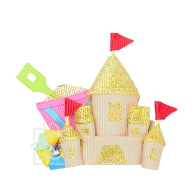 """Beyond Creations 3"""" SANDCASTLE W/ BUCKET & BALL ON PINCH CLIP--HOT PINK BAL"""