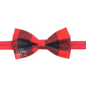 """Beyond Creations 3.5"""" Bowtie on Adjustable Soft Elastic Neck Band, Size 1 (6 mths to 3 yrs)-Red & Black Buffalo Plaid Fannel"""