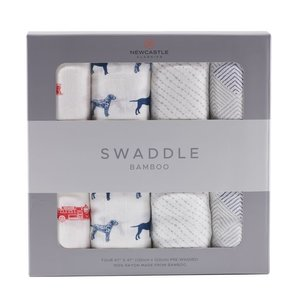 Newcastle Classics Fire Truck and Dalmatian Swaddle Four Pack