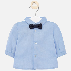 Mayoral Light blue LS shirt with teddy bear bow-tie