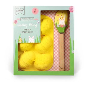 Handstand Kitchen Spring Fling Easter Baking Set Includes: Egg shaped cupcake mold and spatula