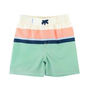 Ruffle Butts Sage Color Block Swim Trunks