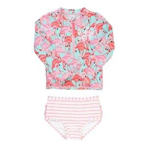 Ruffle Butts Fab Flamingo Long Sleeve Zipper Rash Guard Bikini