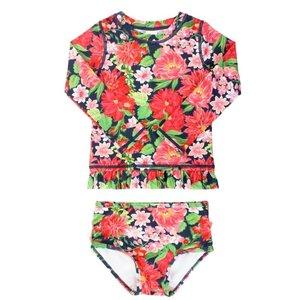 Ruffle Butts Sunset Garden Long Sleeve Rash Guard Bikini