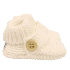 Korango Booties - Essentials Button Knit Shoes - White - 0-3M