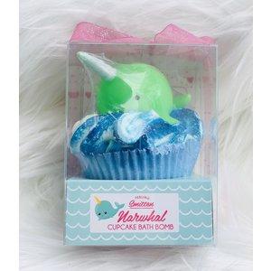 Feeling Smitten Large Cupcake Bath Bomb - (Green Narwhal)
