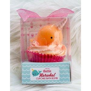 Feeling Smitten Large Cupcake Bath Bomb - (Orange Narwhal)