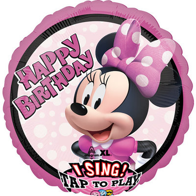 Balloons.com 28 inch - Foil Balloon - Sing A Tune Birthday - Minnie Mouse (with helium)