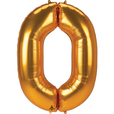 Balloons.com 52 Inch - Number 0 - Gold Balloon (with helium)