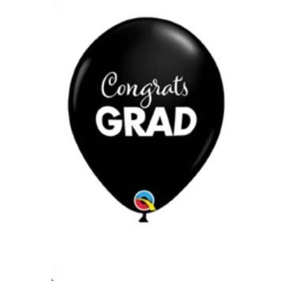 "Balloons.com 11"" - Latex Balloons - Congrats Grad Graduation - Black (with helium)"