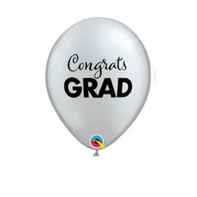 "Balloons.com 11"" - Latex Balloons - Congrats Grad Graduation - Silver (with helium)"