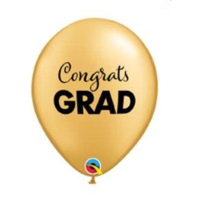 "Balloons.com 11"" - Latex Balloons - Congrats Grad Graduation - Gold (with helium)"